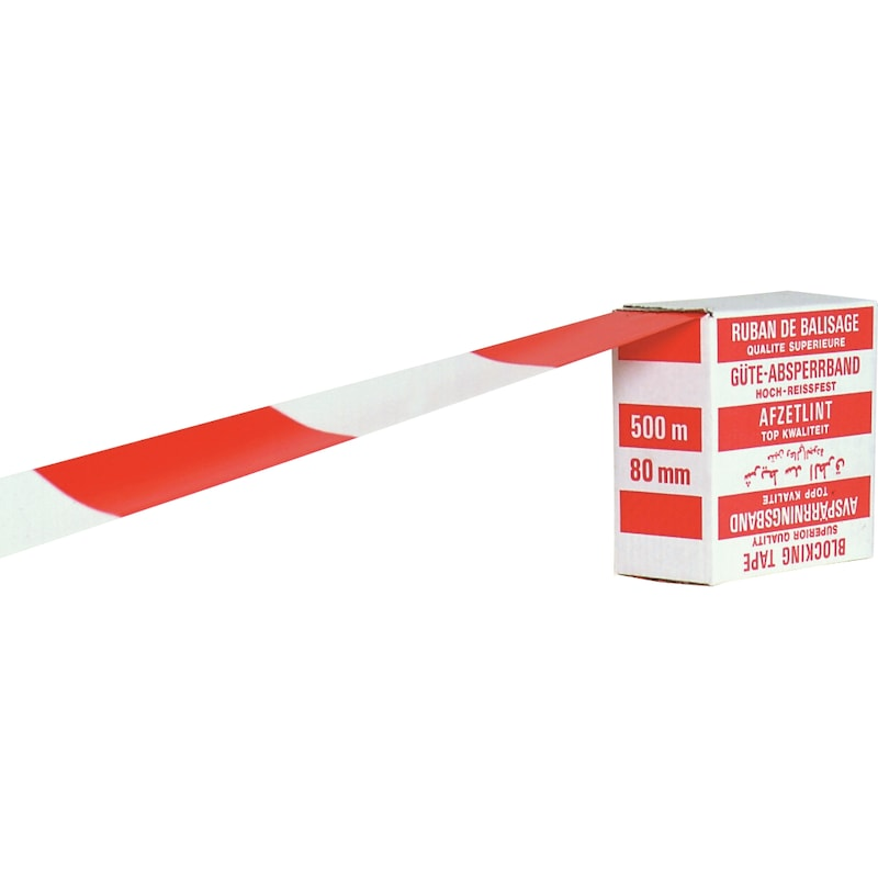 Morion tear-resistant polyethylene warning tape role: 500 m/80 mm, red/white - warning tape