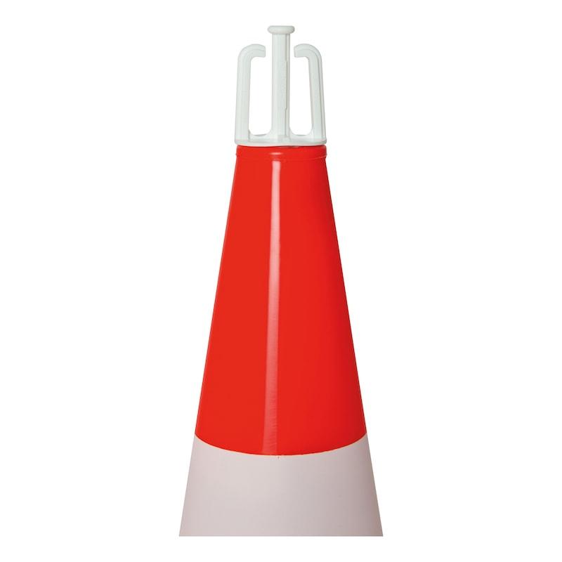 fluor. PVC terelőkúp klt,vörös/narancs,500mm magas,290x290 mm-es alap,egyrészes - fluoreszkáló terelőkúp KÉSZLET