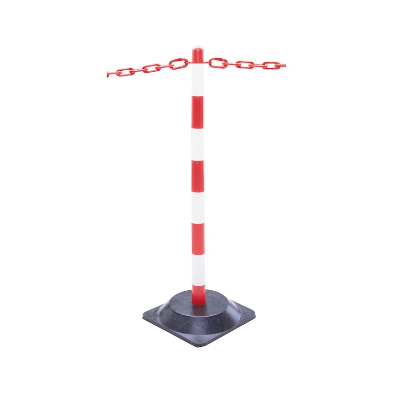 Guarda lightweight chain posts set, square hard rubber base, red/white - chain warning posts SET