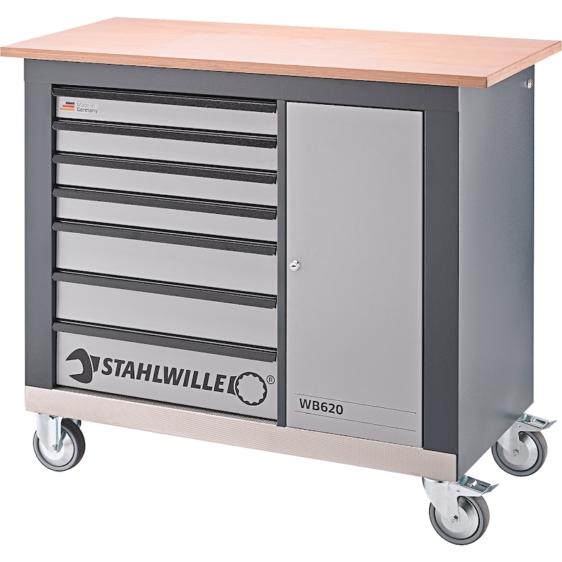 Stahlwille WB620 établi mobile avec sept tiroirs + une porte - Etabli mobile WB 620