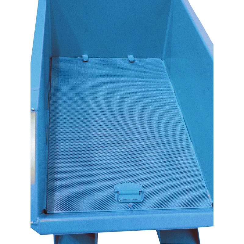 Spaandercontainer cap. 1,00 m³ LxBxH 1640 x 1280 x 780 mm verzinkt - Spaandercontainers, kantelen vanaf de bestuurdersstoel van de heftruck