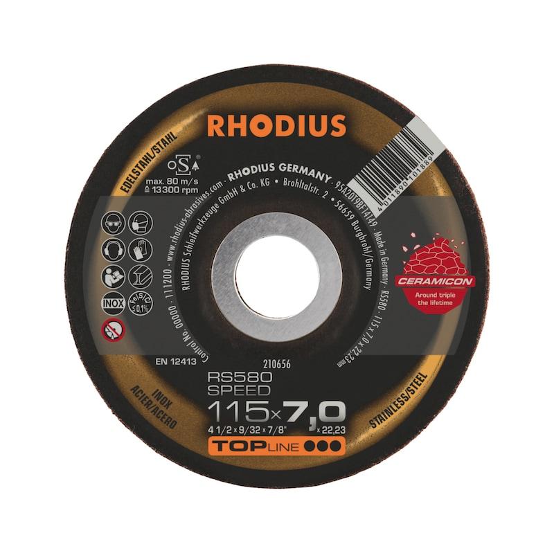 RHODIUS Schruppscheibe Edelstahl, Typ RS 580 SPEED, Keramikkorn, 115x7x 22,23mm - Schruppscheibe für Edelstahl |OUTLET