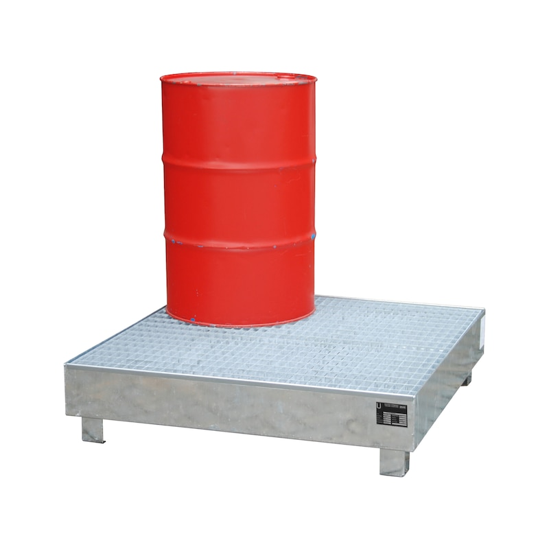Gyűjtőtálca, horganyzott, HxSzéxM 1200x1200x285 mm, rácsrostéllyal - Gyűjtőtálca