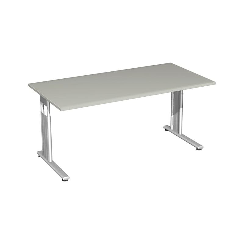 Schreibtisch C Fuß Flex 1600x800 Lichtgrau/Silber - Schreibtisch C Fuß Flex