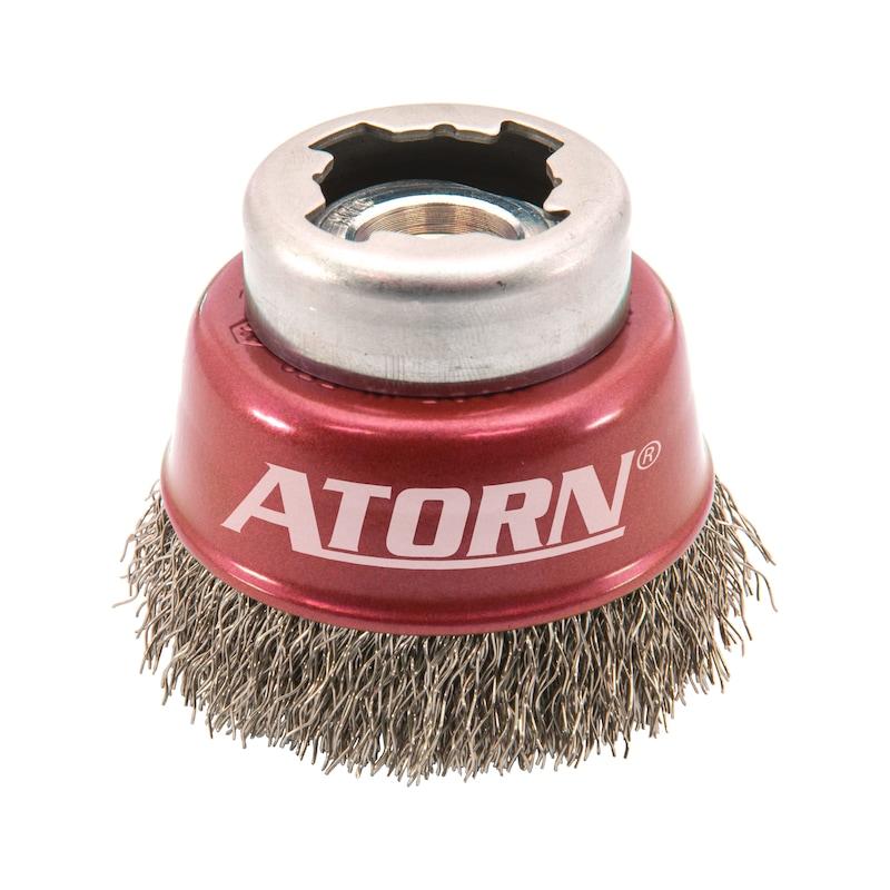 Cepillo met. red. ATORN X-LOCK diám. 60 mm, X-LOCK/M14 alam. acero crimp. 0,3 mm - Cepillo metálico redondo X-LOCK