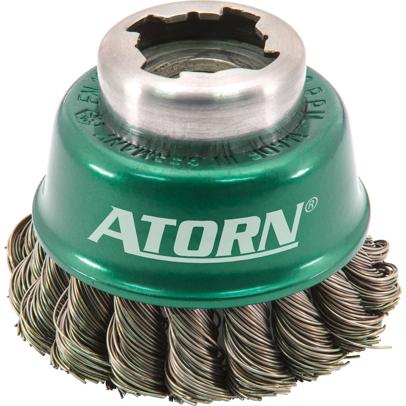 Brosse rotative conique ATORN X-LOCK dia. 65 mm, X-LOCK/M14 fil inox trs 0,5 mm - Brosse rotative conique X-LOCK