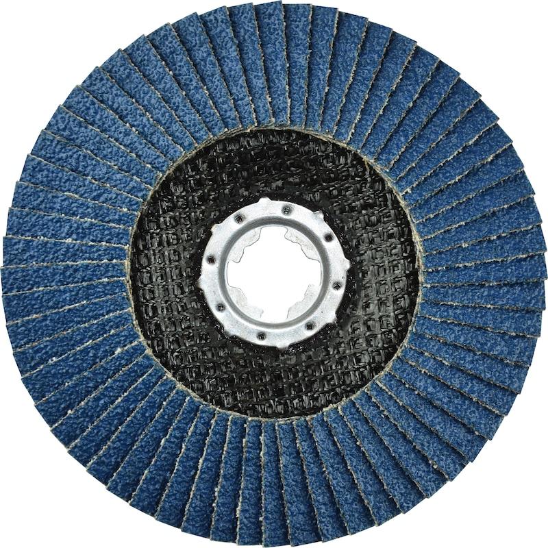 ATORN Schleiflamellenteller X-LOCK Ø125mm, Zirkon, Korn 80, Form: schräg - Schleiflamellenteller X-LOCK