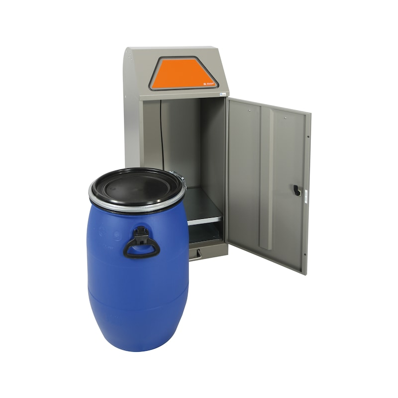 Waste separ. mod Hygio, grey alu lidded drum, 1100x450x450 mm, foot-operated - Waste collector, Hygio, foot-operated