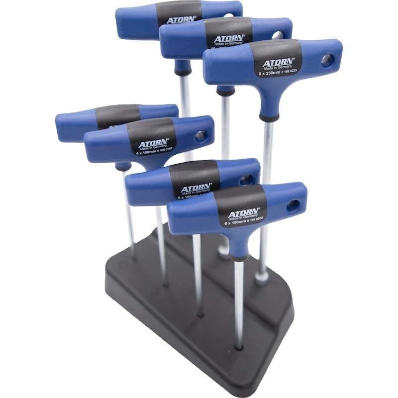 ATORN Schraubendrehersatz im Werkstattständer, 7-teilig - T-Griff Schraubwerkzeugsatz im Werkstattständer