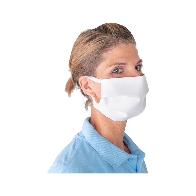 Mund-Nasen-Maske Evo mit Gummiband, weiß - Mund-Nasen-Maske mit Gummiband
