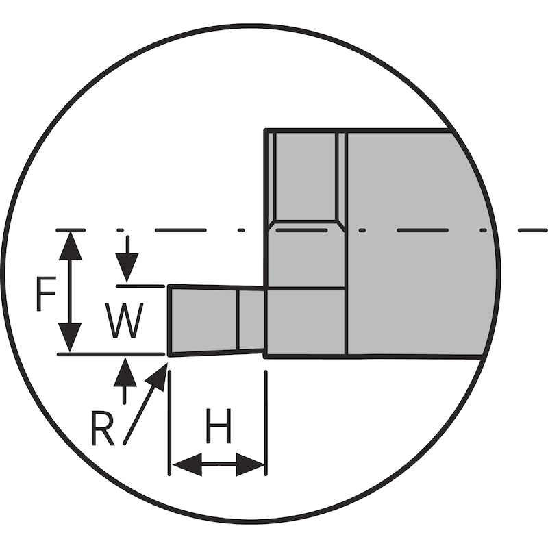ATORN mini kesme laması S, eksenel girinti açma, dış, D min = 12,0mm 2,5mm 5 mm - Minyatür kesme laması, ön