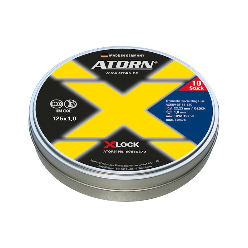 Dis. à tronç. ATORN X-LOCK INOX, diam. 125 x 1 x 22,23 mm, 10 pièces par boîte - Disque à tronçonner ATORN X-LOCK INOX, 10 par boîte