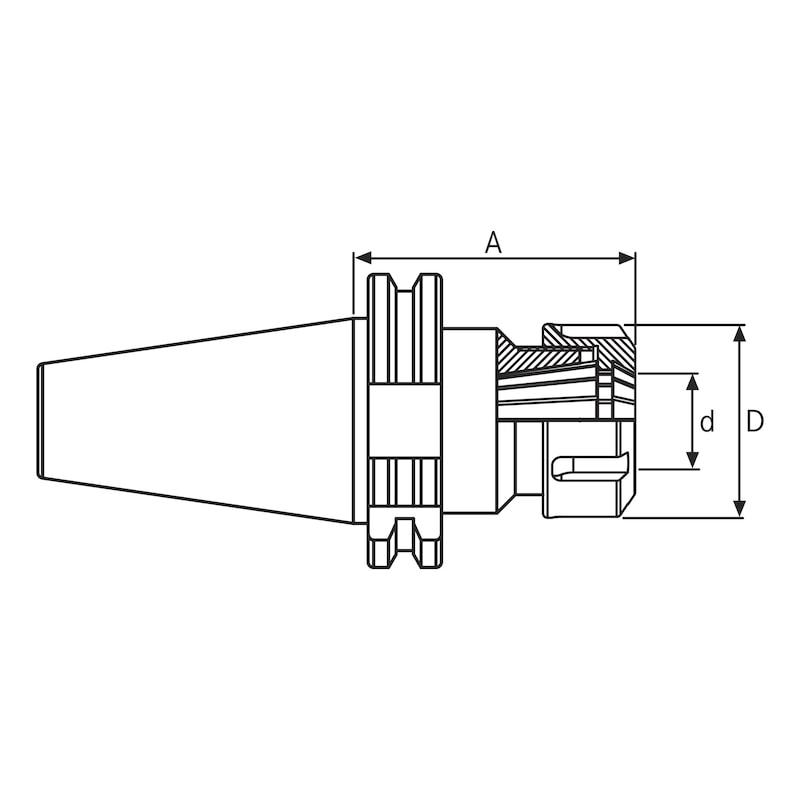 DIEBOLD Spannzangenfutter ER 20 SK 40 DIN 69871 A=120mm - Spannzangenfutter Typ ER