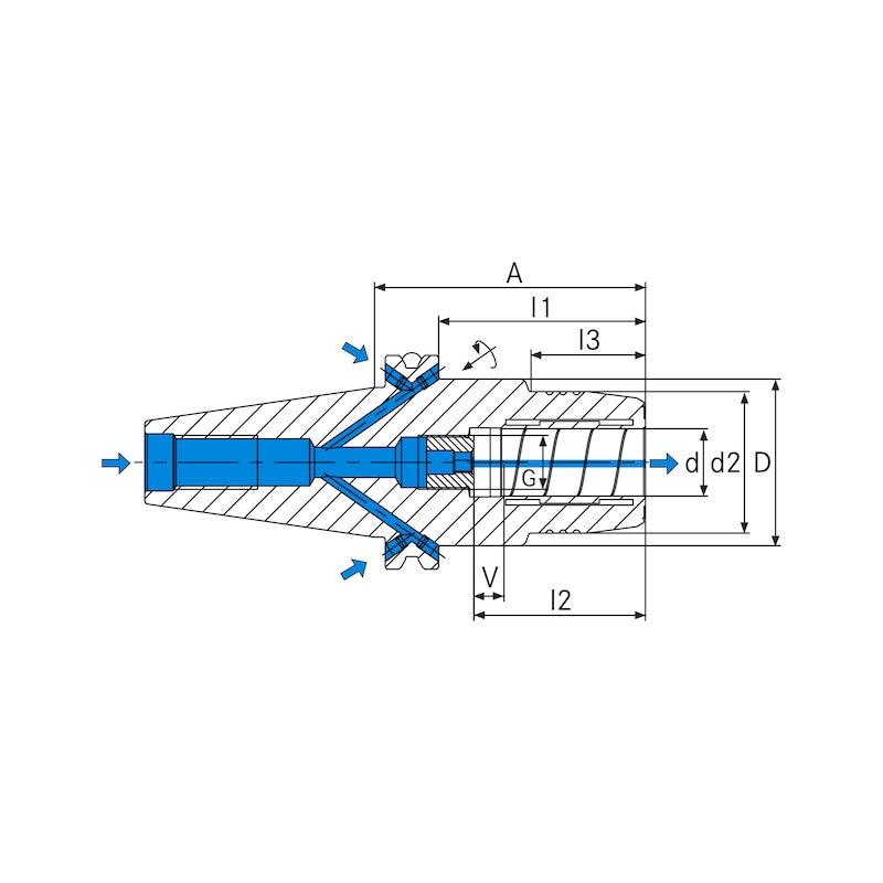 Mandrin expansible SCHUNK TENDO, SK 40, 10 mm, DIN69871 A=80,5 - Mandrins expansibles HYDRO TENDO