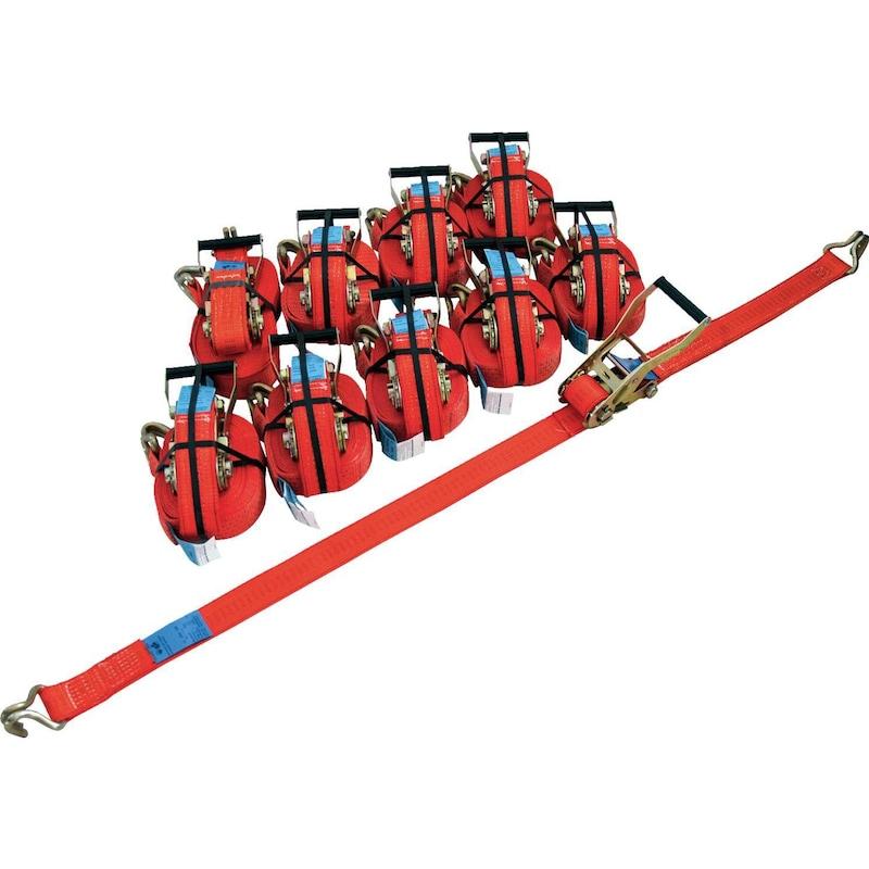 Ratschen-Zurrgurt-Paket 10 St + Aufroller - Ratschen-Zurrgurte-Paket |OUTLET