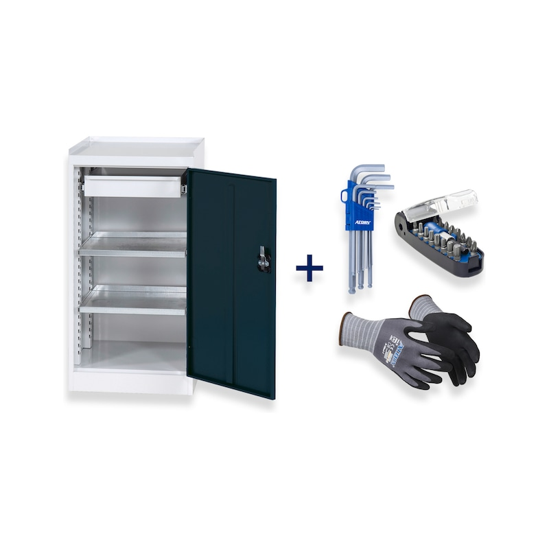 Tool cabinet Anthracite grey + hexagon Allen key, bitbox, assembly protection glove - Fast delivery program |OFFER