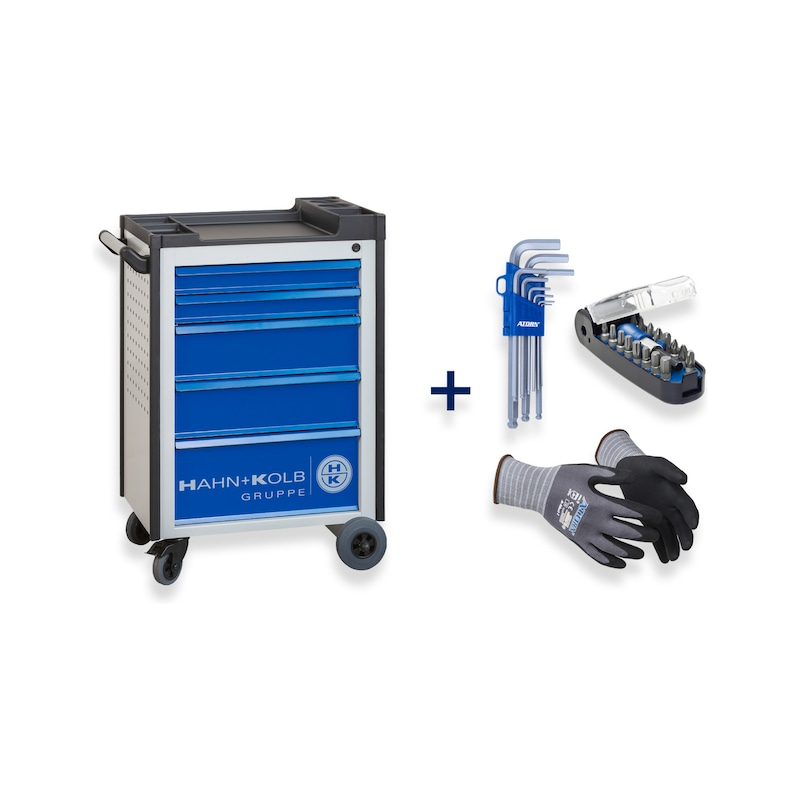 HK tool trolley Gentian blue + hexagon Allen key, bitbox, assembly protection glove - Fast delivery program |OFFER