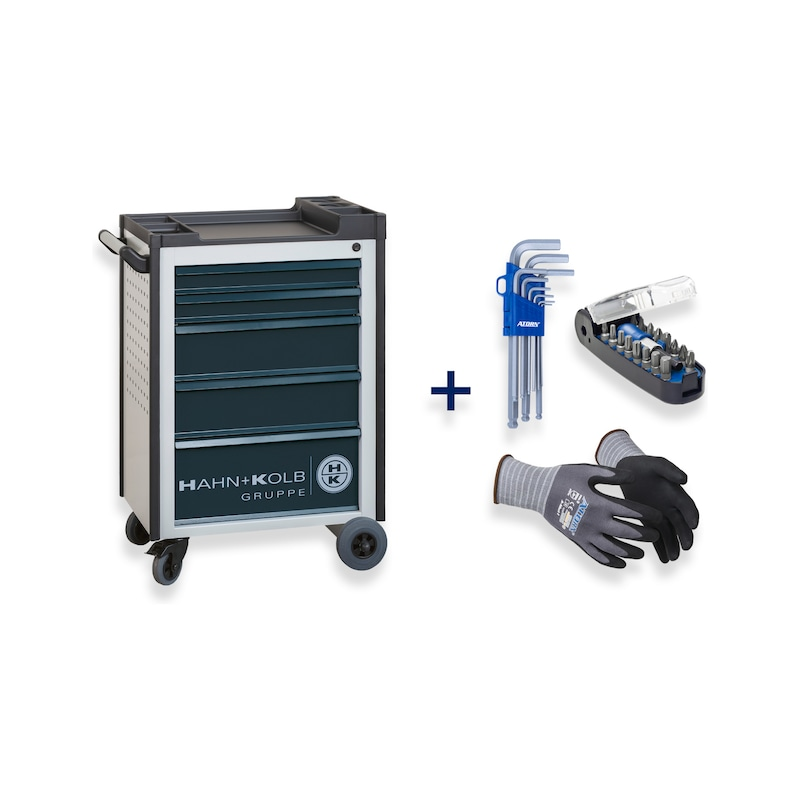 HK tool trolley Anthracite grey + hexagon Allen key, bitbox, assembly protection glove - Fast delivery program |OFFER