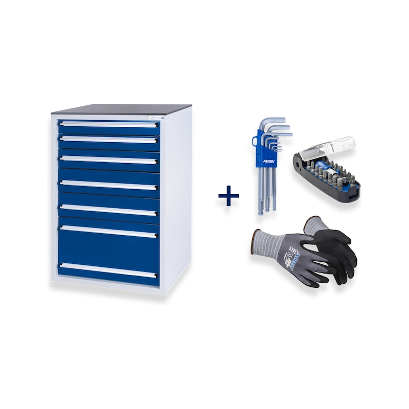 HK tool cabinet system Gentian blue + hexagon Allen key, bitbox, assembly protection glove - Fast delivery program  OFFER