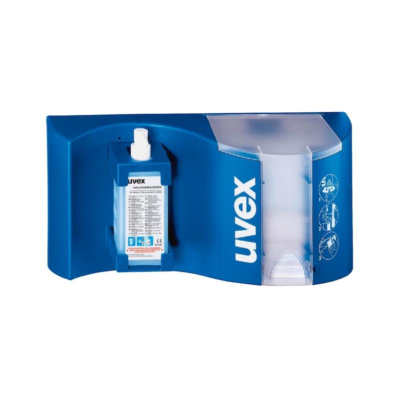 UVEX Brillenreinigungsstation inklusive Reinigungsfluid, Reinigungspapier und Kunststoffpumpe - Brillenreinigungsstation  AKTION