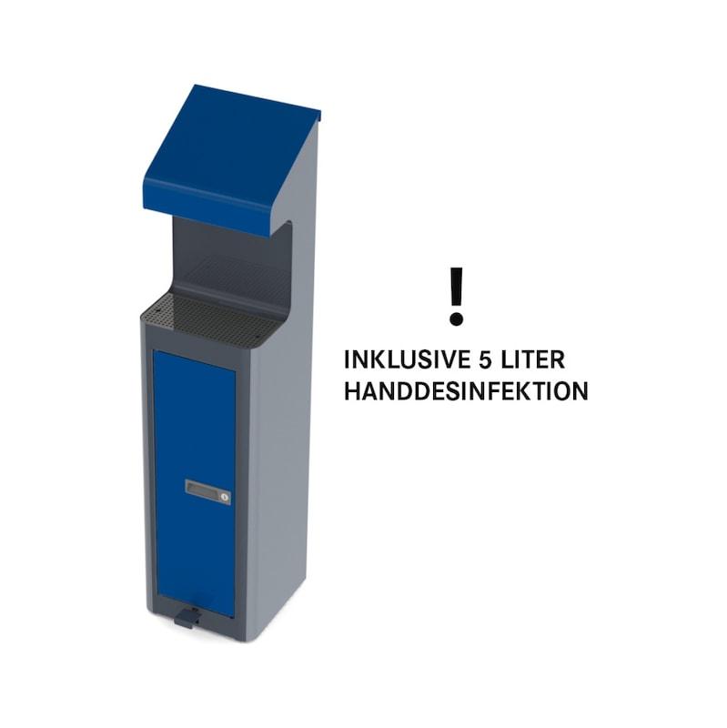 Desinfektionsstation mit Fußpedal RAL 5005 / RAL 7016 inkl. 5l Kanister Desinfektionsmittel - Desinfektionsmittelspender |AKTION