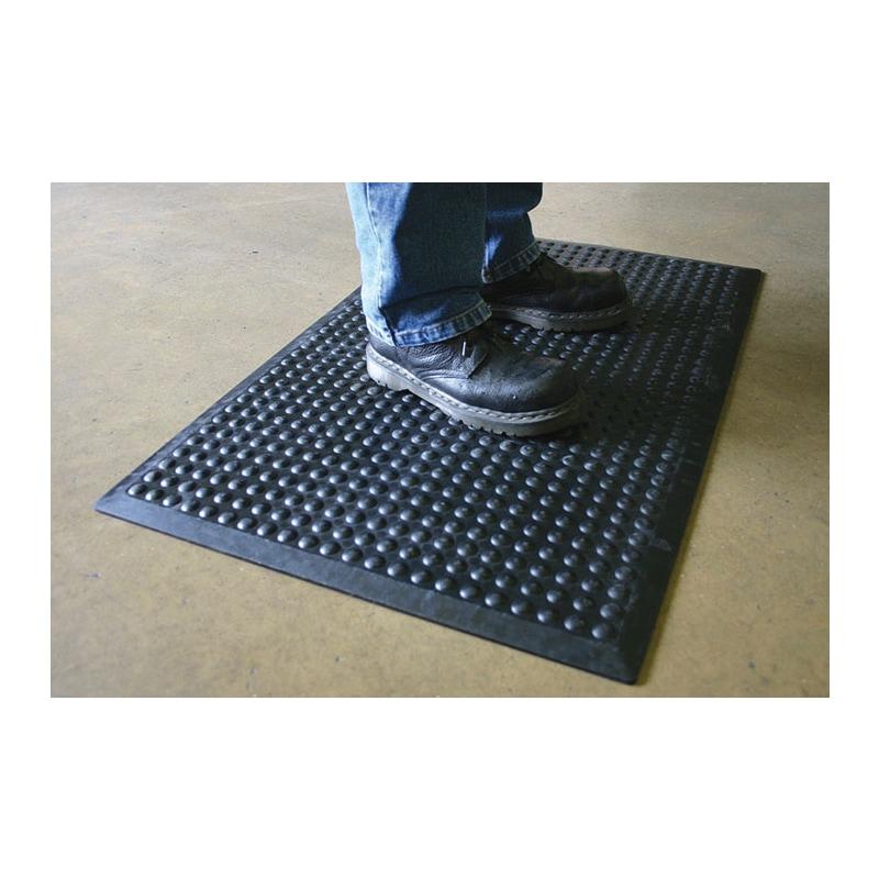 Tapis de poste de travail, tapis ind. LxlxH 1200x900x14mm, caoutchouc nitr noir -