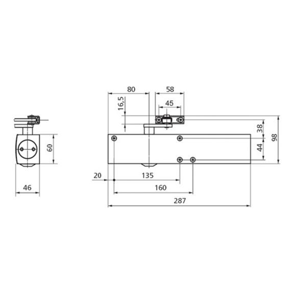 GEZE TS4000 Türschließer silber inklusive Gestänge und Montageplatte