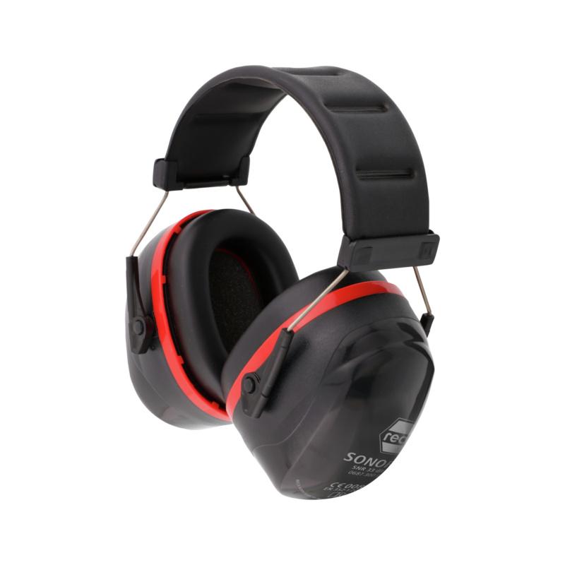 Kapselgehörschutz SONOR 33 - RECA Kapselgehörschutz Sonor 33 EN 352-1 schwarz-rot, Stahlbügel SNR 33 dB(A)