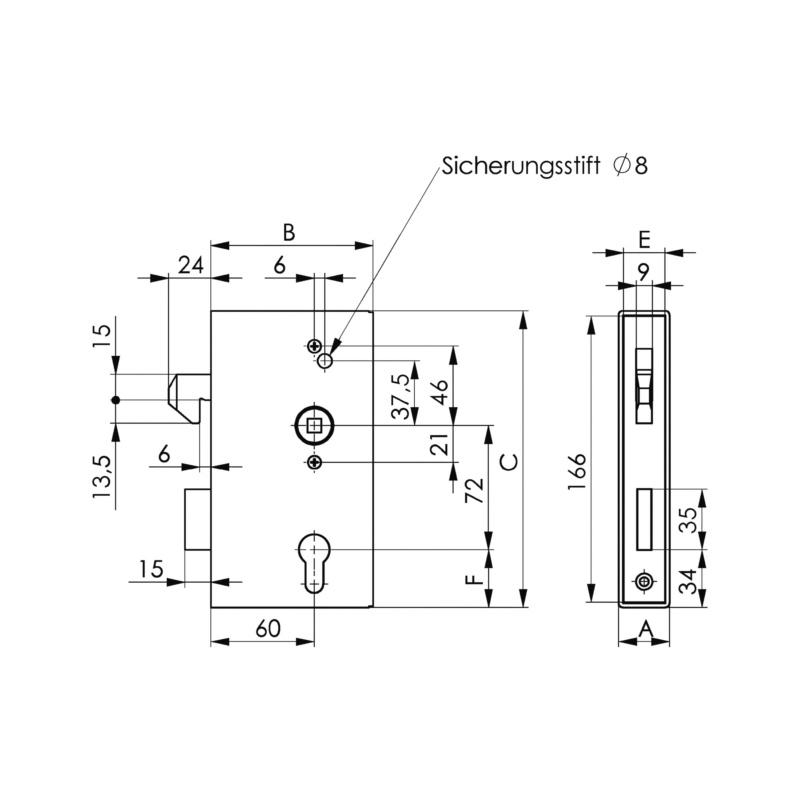 AMF Schiebetorschlosskasten Blank - 2