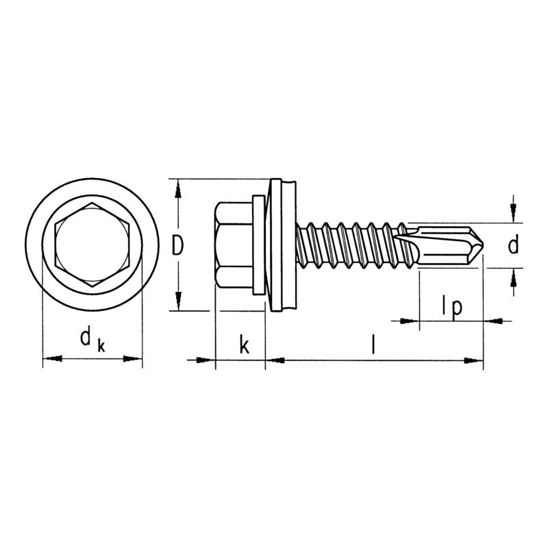 sebSta hexagon-head drilling screw, bimetal, A2/steel, RUSPERT® - 5