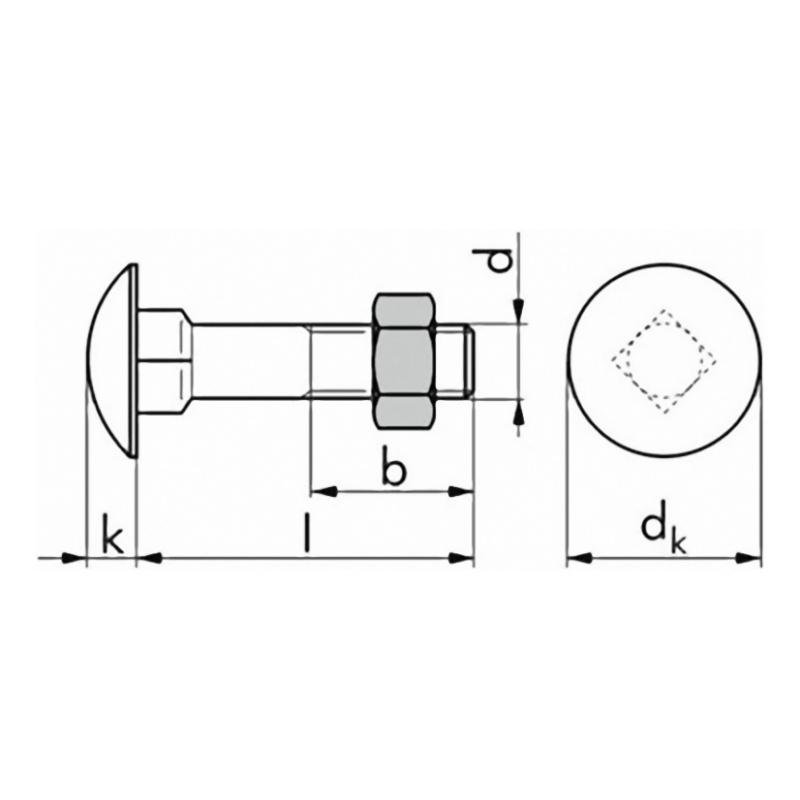 Schlossschraube DIN 603, inklusive Mutter - Schlossschraube DIN 603 mit Mutter, verzinkt M 8 x 40