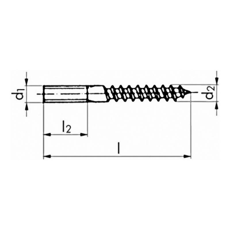 Stud screw, 4.8, galvanised - 2