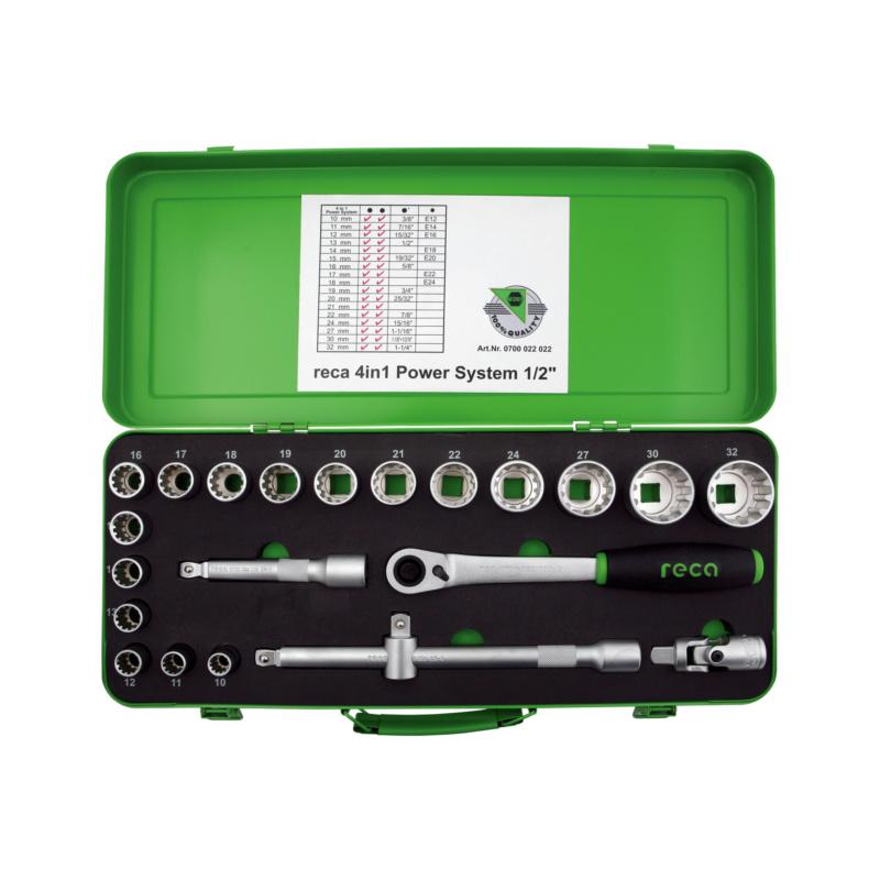 "RECA socket wrench set POWER SYSTEM 4-in-1 1/2"", 22 pcs."