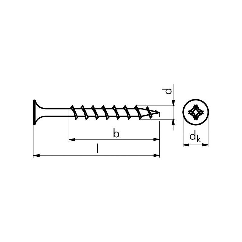 Ø 3,9 - 5,0 mm Gipsplattenschrauben, Einganggewinde -  Kleinpakete - Gipsplattenschraube EN 14566, Klasse 48, THN, Einganggewinde, (Grobgewinde), Trompetenkopf, Nadelspitze, Bit PH 2, 3,9 x 35