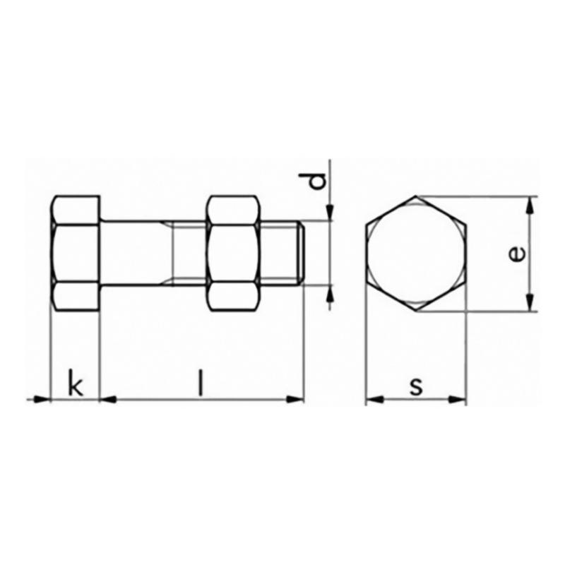 Sechskantschraube M20 x 400 mm Mutter ISO 4014 Schraube 4.6 Stahl verzinkt