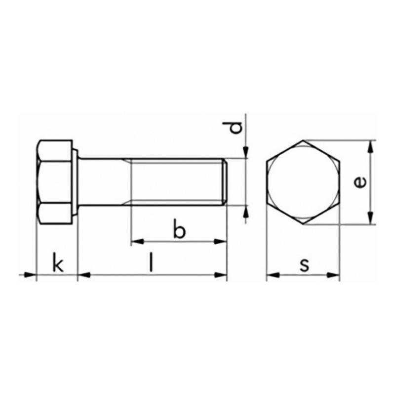 Hexagonal bolt with shank, DIN 931 8.8, galvanised - 2