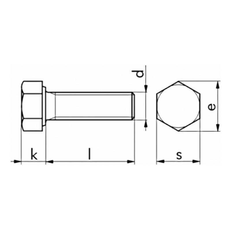 Sechskantschraube DIN 933 8.8 vz - 2