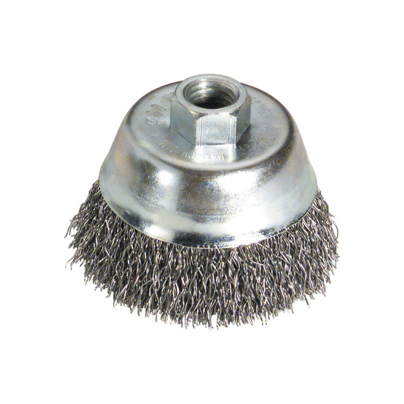 Wire cup brush, steel wire, crimped