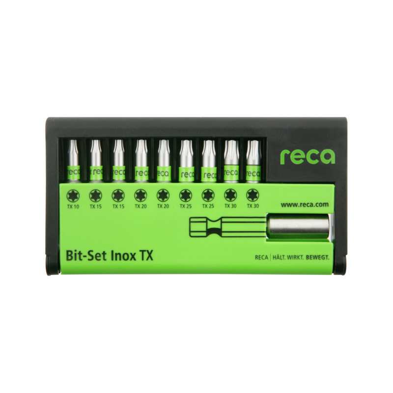"RECA Bit-Set Inox TX, 10-teilig - RECA Bit Set Inox TX 10-teilig, mit Inox-Bithalter 1/4"", E 6,3 TX"