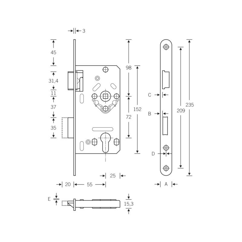 SSF Zimmertür-Einsteckschloss Klasse 2 PZ - 2
