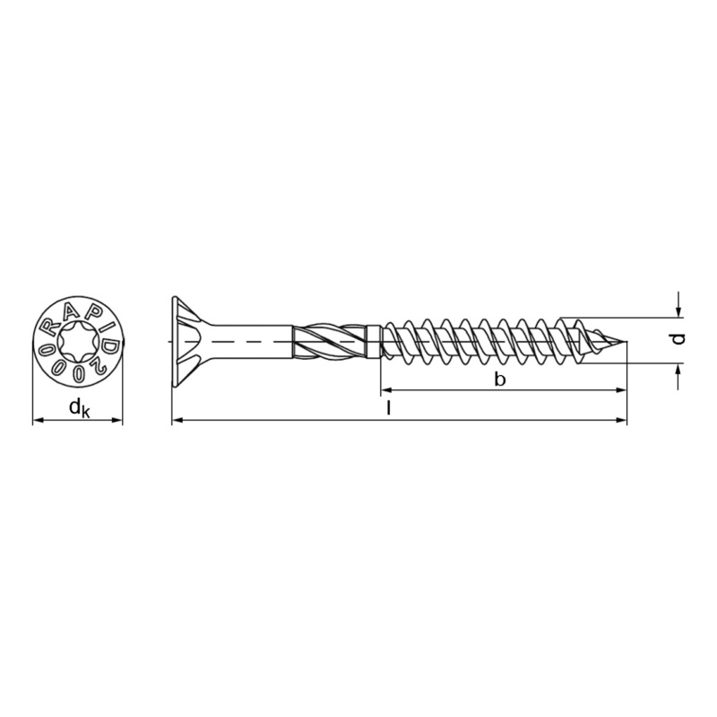 RAPID® 2000 Spanplattenschraube mit Senkfrästaschenkopf, gelb - 2