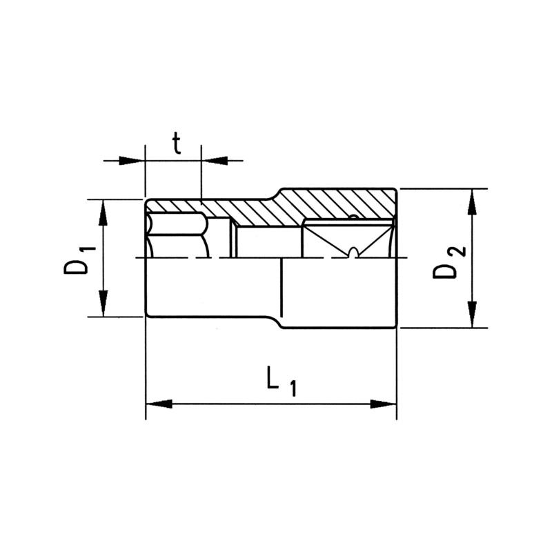 """RECA Steckschlüssel-Einsätze 1/2"""" kurze Ausführung, metrisch mit Außensechskant - 2"""