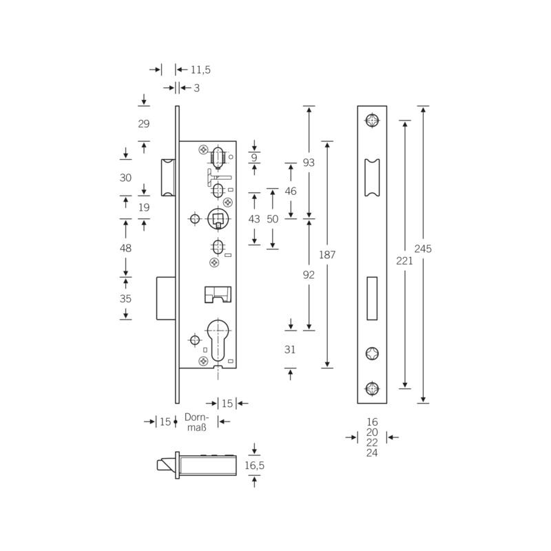 SSF Rohrrahmen-Einsteckschloss PZ - 2