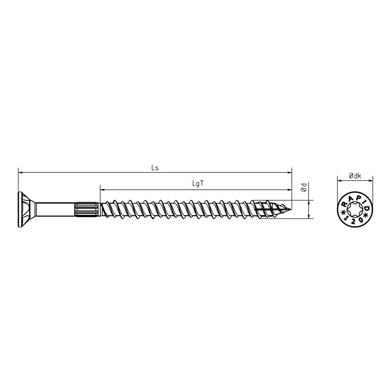 RAPID® load-bearing timber screw with countersunk head, yellow - 2