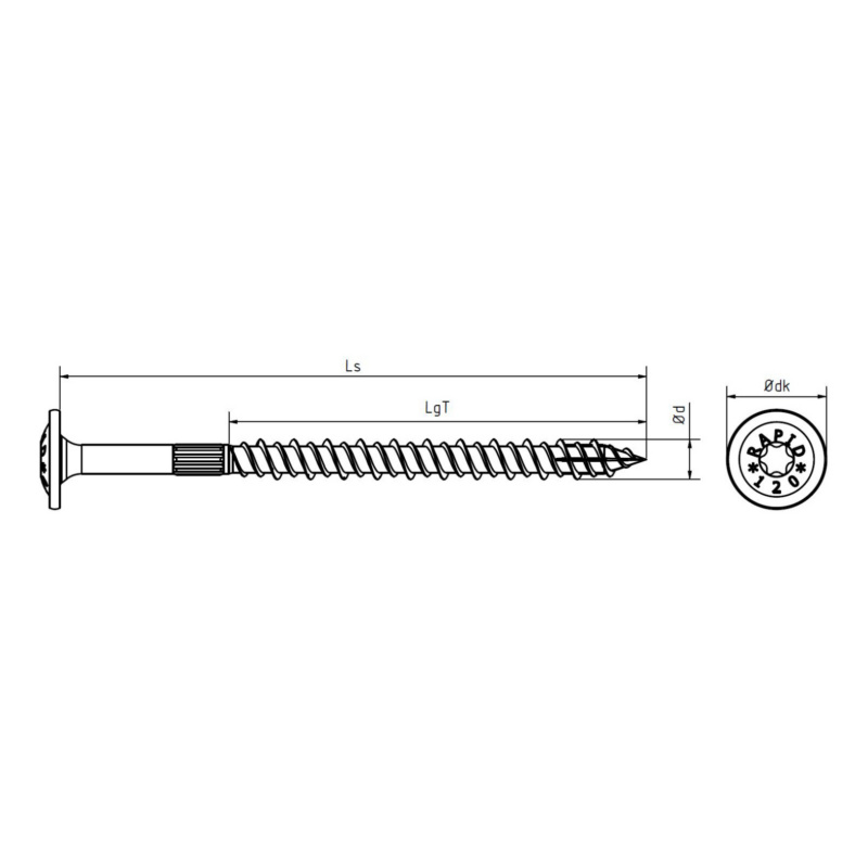 RAPID® load-bearing timber screw with washer head, yellow - 2