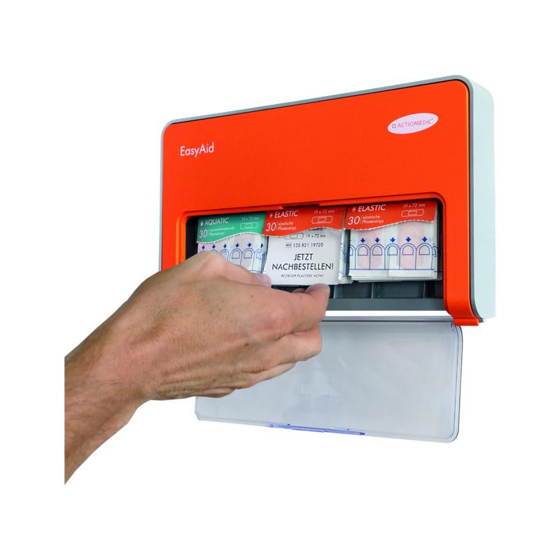 Distributeur de pansements EasyAid avec contenu Standard II - Distributeur de pansements EasyAid Standard II, distributeur en plastique, orange, comprenant le matériel de montage, 272 x 164 x 33 mm
