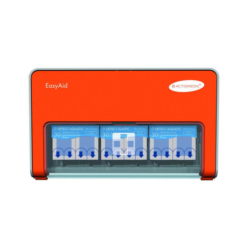 Distributeur pour pansements EasyAid Detect - Distributeur pour pansements EasyAid DETECT, distributeur en plastique, orange, comprenant le matériel de pose, 272 x 164 x 33 mm