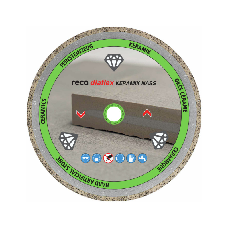 diaflex carrelage/grès cérame spécial 115-125mm - Disque diamant RECA diaflex spécial grès cérame coupe à eau 250 / 25,4