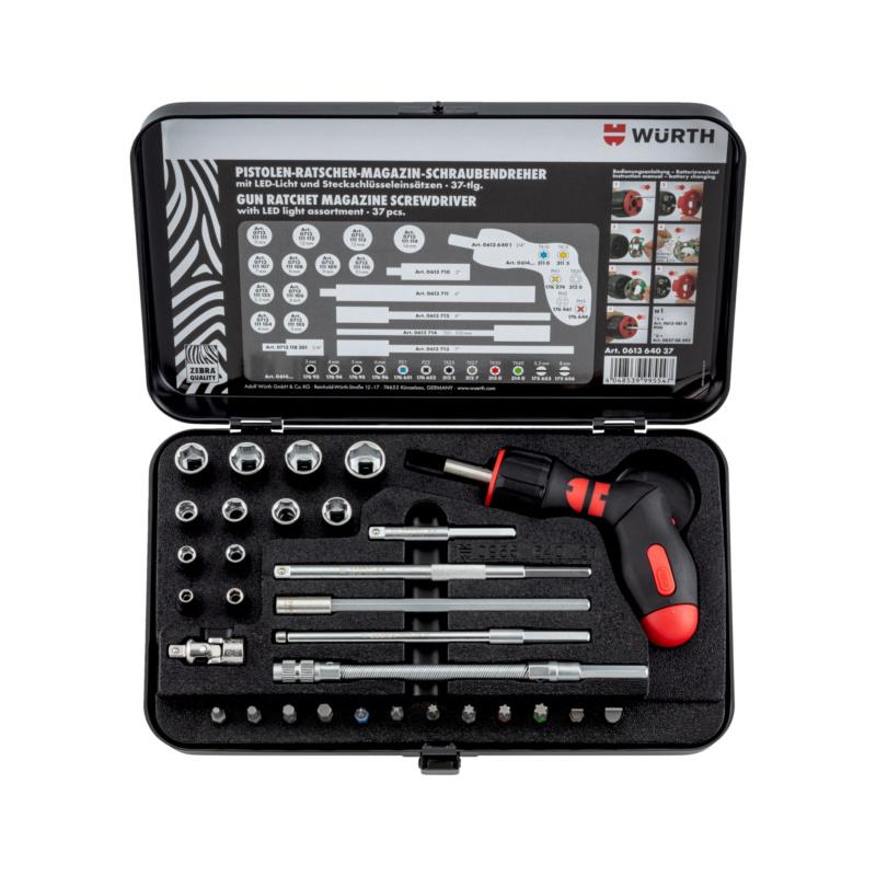 手枪式棘轮螺丝刀组套 - 多用途棘轮改锥组套-LED-37PCS