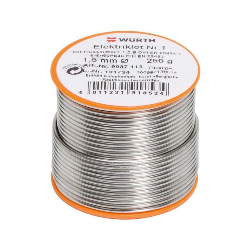 1 号电子元器件用钎焊条 - 焊锡丝-1号-ZN60/PB40-250G-D1,5